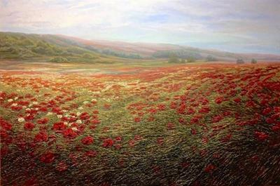 Poppies and Chamomile Meadow by Raquel Clarke